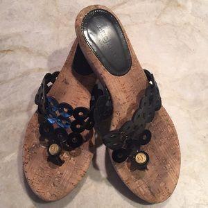 Eric Javits Black Patent Sandals Sz 8M